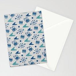 Mid Century Modern Atomic Boomerang Pattern Grey Green 108 Stationery Cards