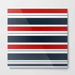 Red, White, and Blue Horizontal Striped Metal Print
