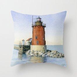 Delaware Breakwater East Light Throw Pillow