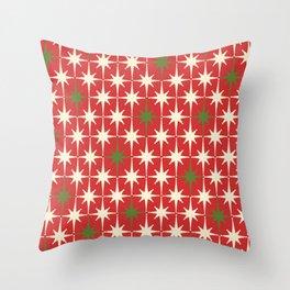 Atomic Age Christmas Starbursts - Midcentury Modern Xmas Holiday Pattern Cream Green Red Throw Pillow