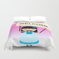 welcome Duvet Covers featuring Welcome by Zurecia