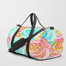 blooming rose texture pattern abstract background in red and blue Duffle Bag