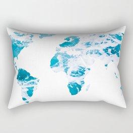 World Map Ocean Waves Rectangular Pillow