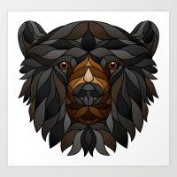 Black Bear Fragments Lined Art Print
