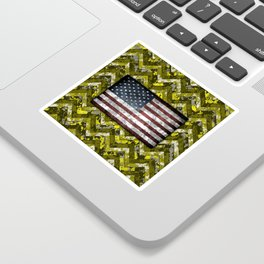 Yellow Patriotic Chevrons Digital Camo Sticker