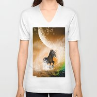 running V-neck T-shirts featuring Running horse by nicky2342
