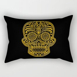Intricate Yellow and Black Day of the Dead Sugar Skull Rectangular Pillow
