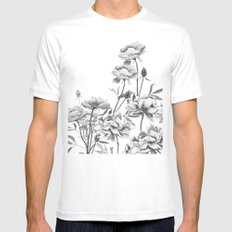 black and white peonies MEDIUM White Mens Fitted Tee