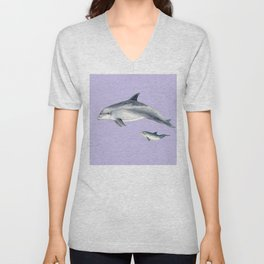 Bottlenose dolphin purple background Unisex V-Neck