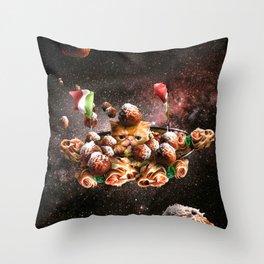 Funny Space Pasta Cat Throw Pillow