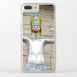 The silver aztec Clear iPhone Case