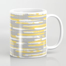 Colorful Stripes, Abstract Art, Yellow and Gray Coffee Mug