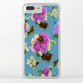 Floral Dachshund Clear iPhone Case