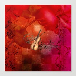 Music, violin with violin bow Canvas Print