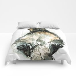 Sleepy Gulo gulo watercolor Comforters