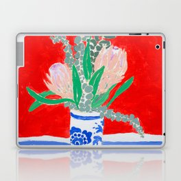Protea Still Life in Red and Delft Blue Laptop & iPad Skin