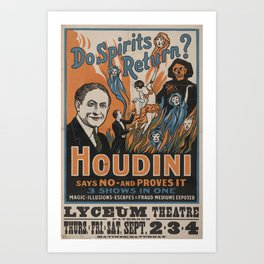 Houdini - vintage poster, spirits Art Print