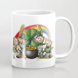 Happy Leprecauns, Rainbow, Shamrocks & Gold Coffee Mug