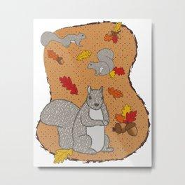 Autumn Squirrel Metal Print