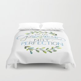 Aim for progress not perfection Duvet Cover