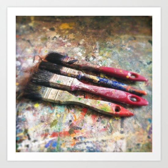 Four Paintbrushes Art Print