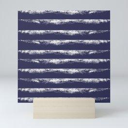 Irregular Stripes Dark Blue Mini Art Print