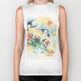 Hummingbirds Secret Garden Biker Tank