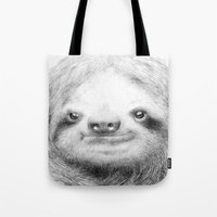 sloth Tote Bags featuring Sloth by Eric Fan
