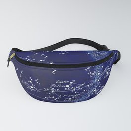French March Star Map in Deep Navy & Black, Astronomy, Constellation, Celestial Fanny Pack