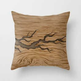 crack in the tree cracked piece of wood with shadow and texture Throw Pillow