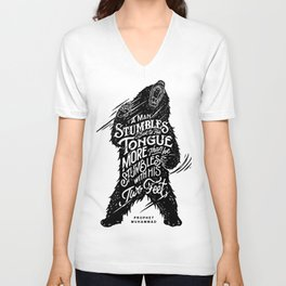 """Prophet Muhammad - """"A man stumbles due to his tongue more than he stumbles with his two feet."""" Unisex V-Neck"""