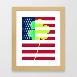 St. Patrick's Day Flag Irish Shamrock American Flag Colors Framed Art Print