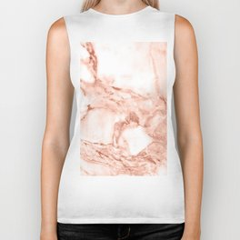 Living Coral Rose Gold  Glitter Veins on Marble Biker Tank