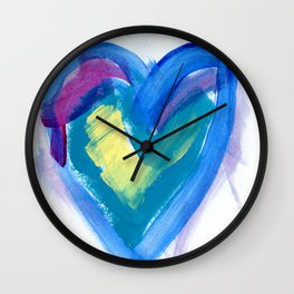 Painted Blue Heart Wall Clock