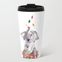 Baby elelphant and leaves Travel Mug
