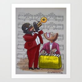 African American 'Apollo Theater Sheet Music Portrait No. 6' Hot Jazz by Miguel Covarrubias Art Print