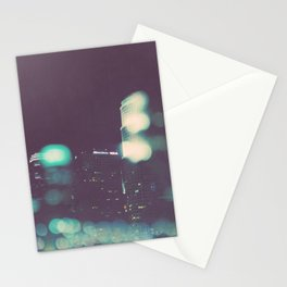 downtown Los Angeles skyline at night photograph. Stationery Cards