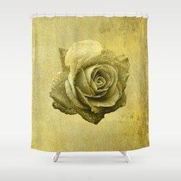 Metallic Gold Rose Flower Luxury Floral Victorian Bohemian Girly Wedding Bride Shower Curtain