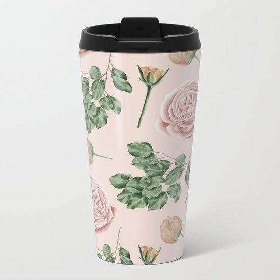 Flower Shop Roses on Blush Pink Metal Travel Mug
