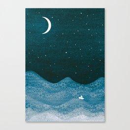 ornament ocean, moon & boat Canvas Print