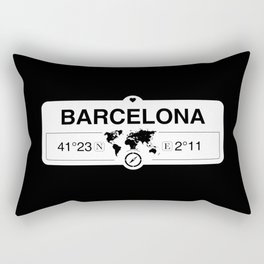Barcelona Catalonia with World Map GPS Coordinates Rectangular Pillow