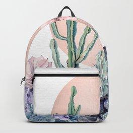 Desert Sun Cactus + Succulents Bronze on White Backpack