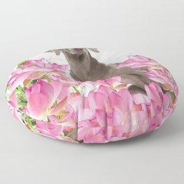 Weimaraner Lotos Flowers Floor Pillow