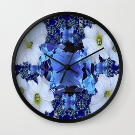 LONDON BLUE TOPAZ & WHITE PETUNIAS PATTERN Wall Clock