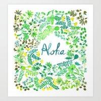aloha Art Prints featuring Aloha by madelinetrait