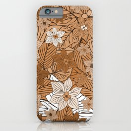 Autumn mood with flowers and leaves in brown and beige romantic illustration iPhone Case