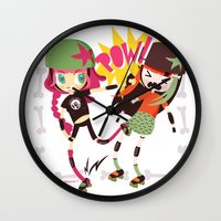 roller derby Wall Clocks featuring It's Roller Derby, sweetie! by Irene Dose