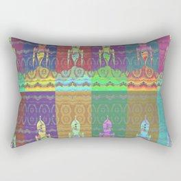 Twelve Colorful Space Rockets Rectangular Pillow