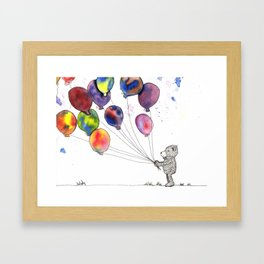 bear holding balloons watercolor and ink painting Framed Art Print