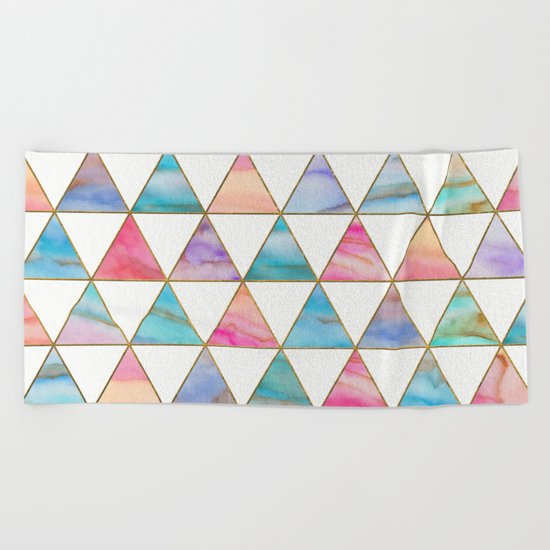 Marble Triangles Pattern Beach Towel
